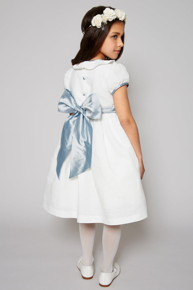 Flower Girl White Dress with Blue Silk Sash - Dress - PEPA AND CO
