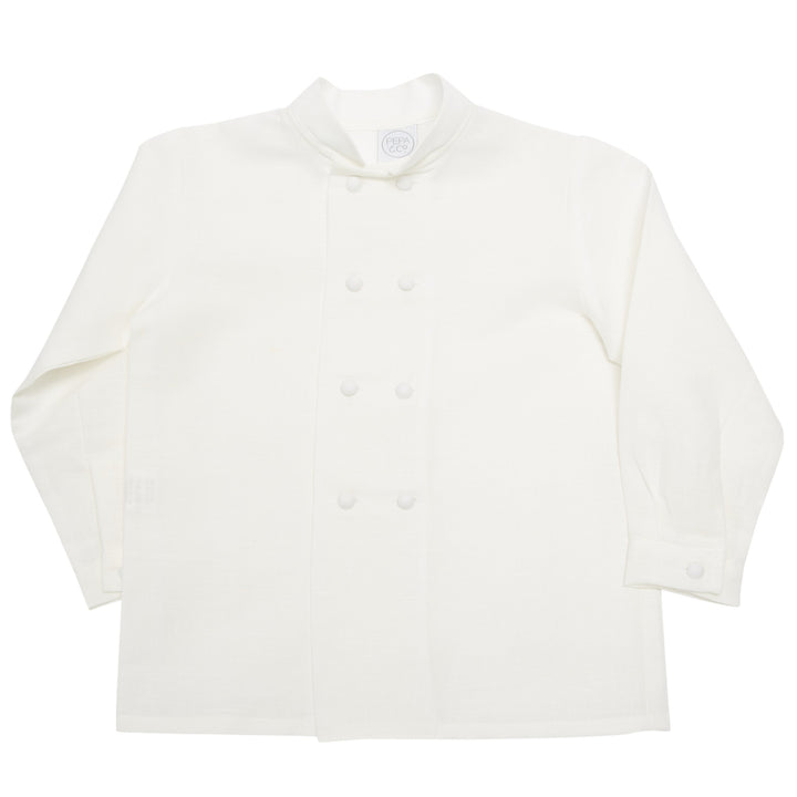Boy's white double-breasted Mandarin collar shirt - Shirt - PEPA AND CO