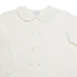 Boy's white double-breasted Peter Pan collar shirt