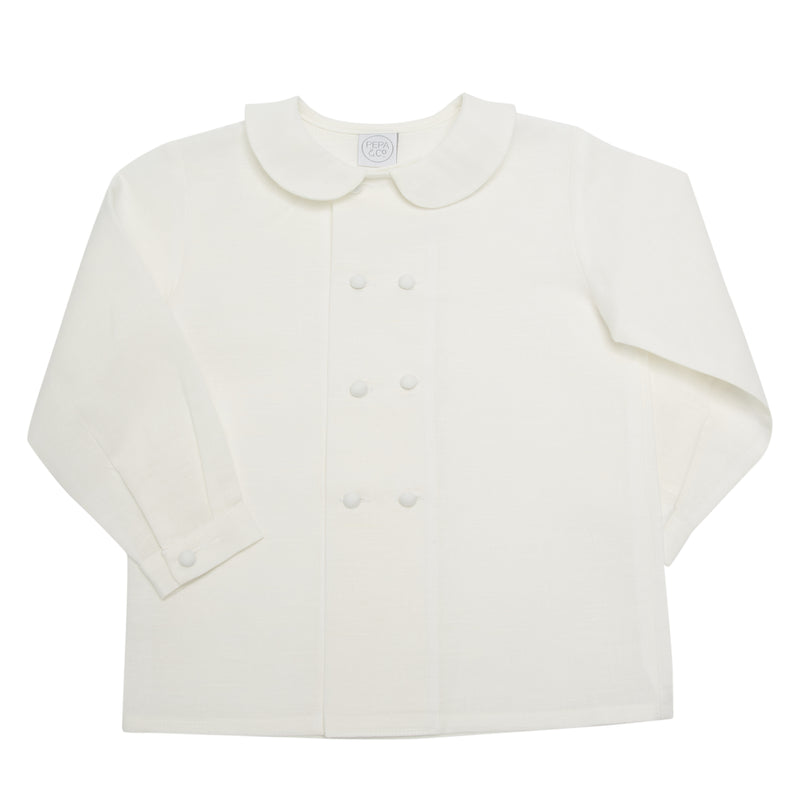 White Double-Breasted Peter Pan Collar Shirt - Shirt - PEPA AND CO