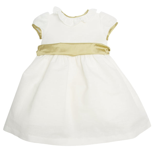 Flower girl's white dress with green silk sash