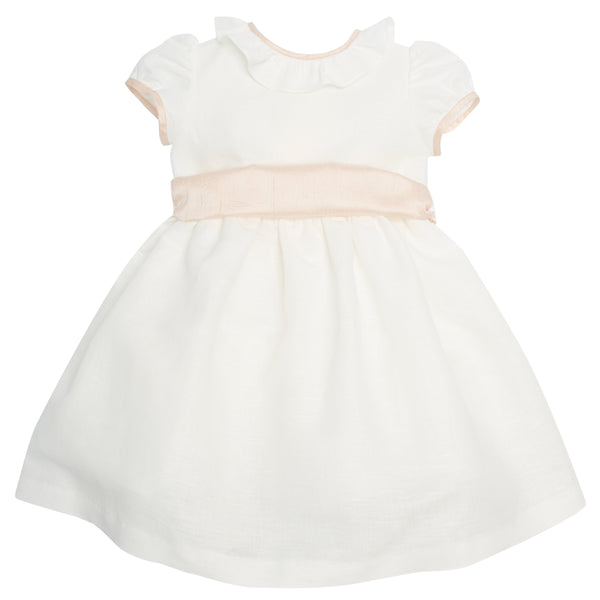 Flower Girl White Dress with Pink Silk Sash - Dress - PEPA AND CO