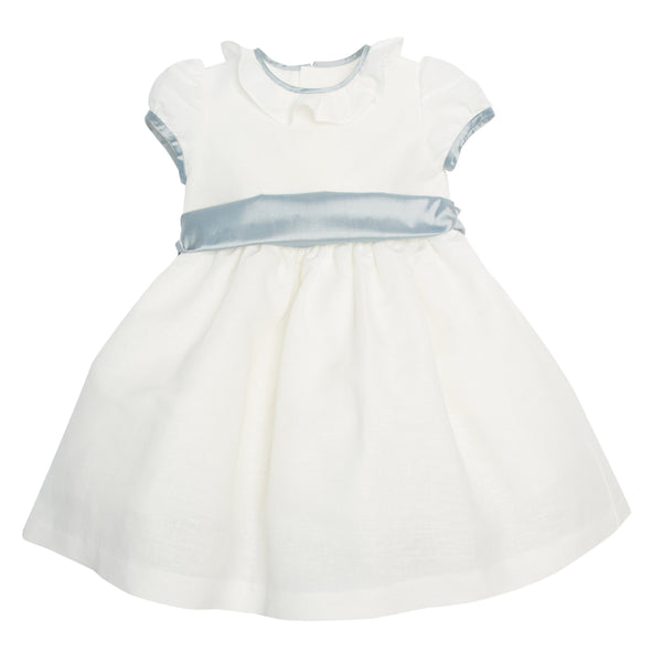Flower girl's white dress with blue silk sash