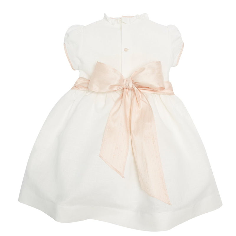 White Occasion Dress with Pink Details - Dress - PEPA AND CO