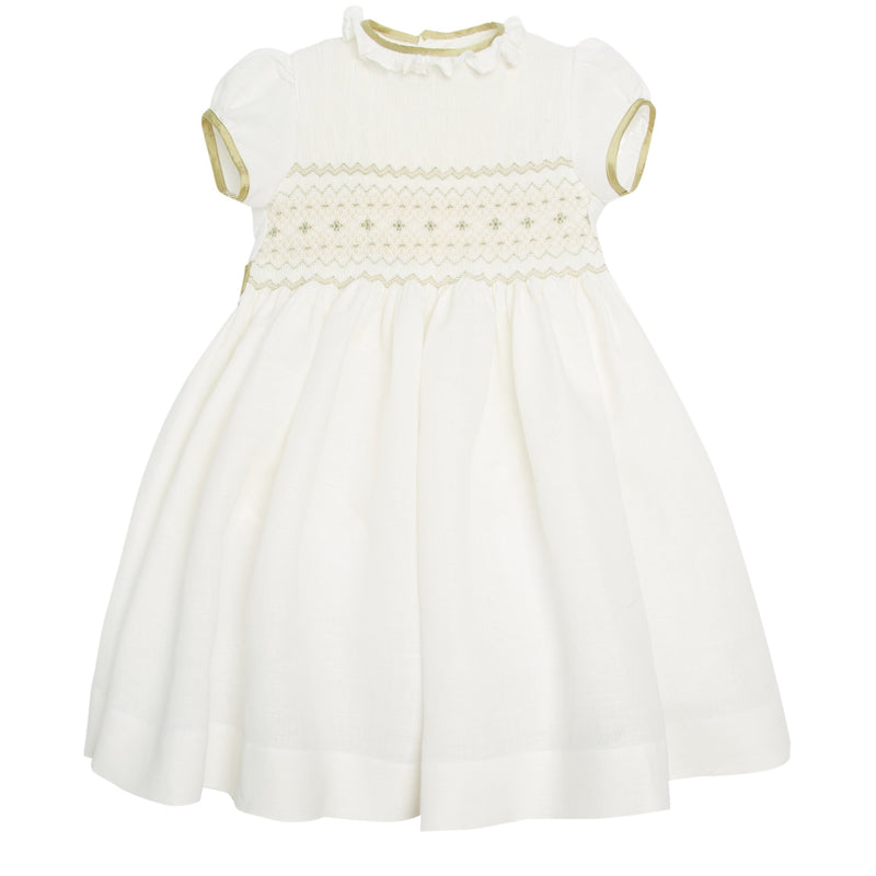 White Occasion Dress with Green Details - Dress - PEPA AND CO