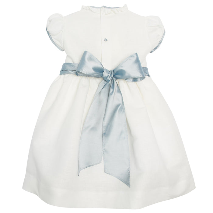 White Occasion Dress with Blue Details - Dress - PEPA AND CO