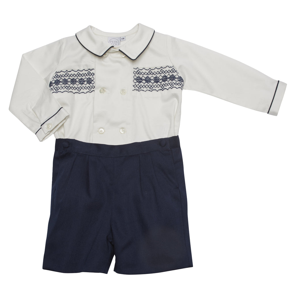 Classic White and Navy Handsmocked Shirt and Shorts Set