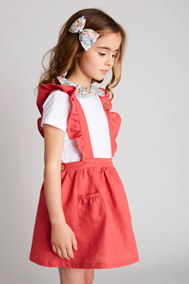 Red Linen Skirt with Ruffle Braces - Skirt - PEPA AND CO