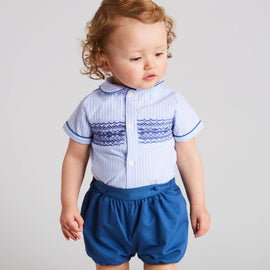 Blue Striped Handsmocked Cotton Bloomer Set - Set - PEPA AND CO