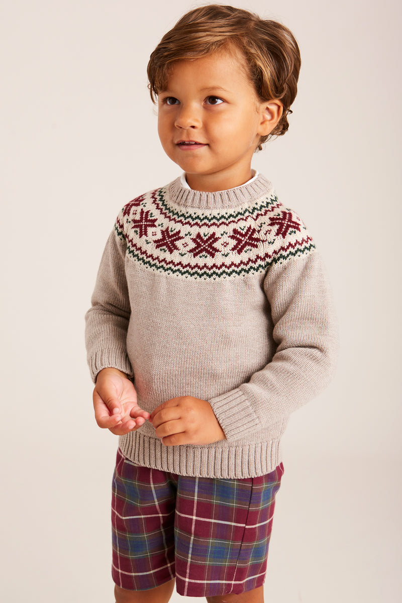 Oatmeal Knitted Jumper with Burgundy Fairisle Design - KNITTED - PEPA AND CO