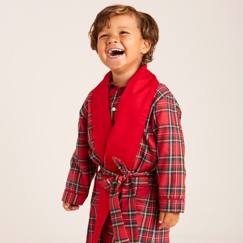 Traditional Red Tartan Check Dressing Gown - NIGHTWEAR - PEPA AND CO