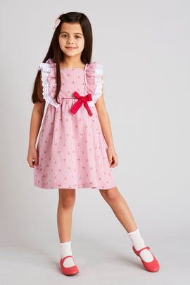 Girl's Red Striped Cherry Cotton Dress with Bow - Dress - PEPA AND CO