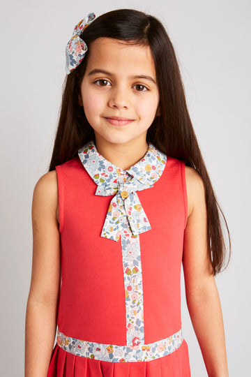 Red Jersey Cotton Dress with Liberty Floral Print - Dress - PEPA AND CO