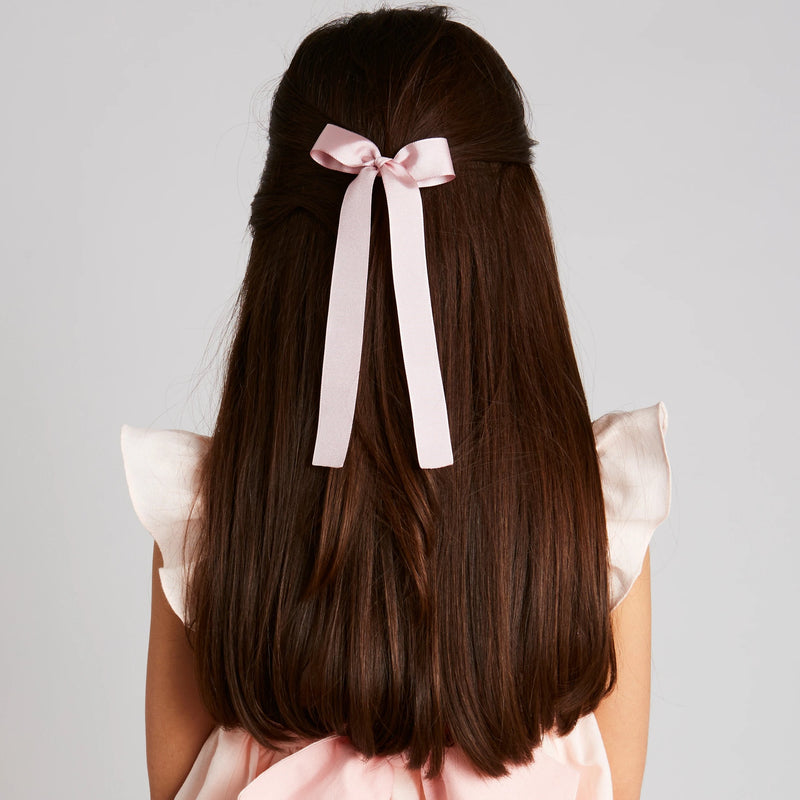 Pink Silky Long Bow Clip - Hair Accessories - PEPA AND CO