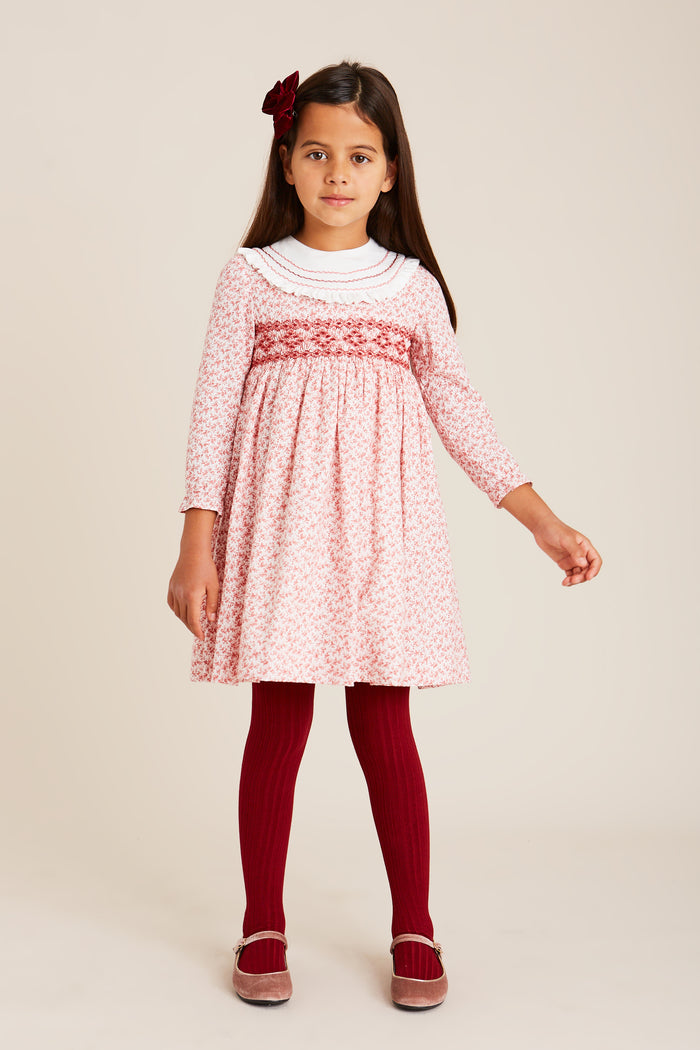 Classic Burgundy Floral Handsmocked Cotton Dress - DRESS - PEPA AND CO