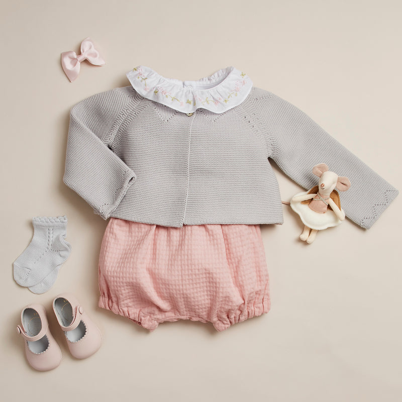 Cotton Baby Bodysuit with Embroidered Pink Floral Collar