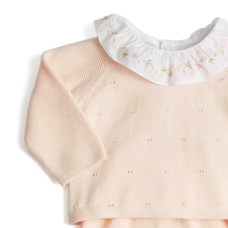 Newborn Knitted Set With Pink Floral Embroidered Collar