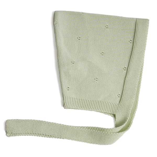 Knitted Baby Bonnet Green - Bonnet - PEPA AND CO