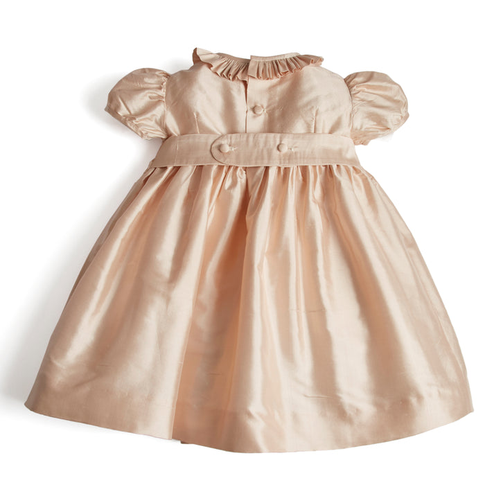 Girls Silk Smocked Celebration Dress in Pink - Dress - PEPA AND CO