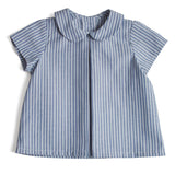 Timeless Peter Pan Collar Baby Shirt in Blue Stripes - Shirt - PEPA AND CO