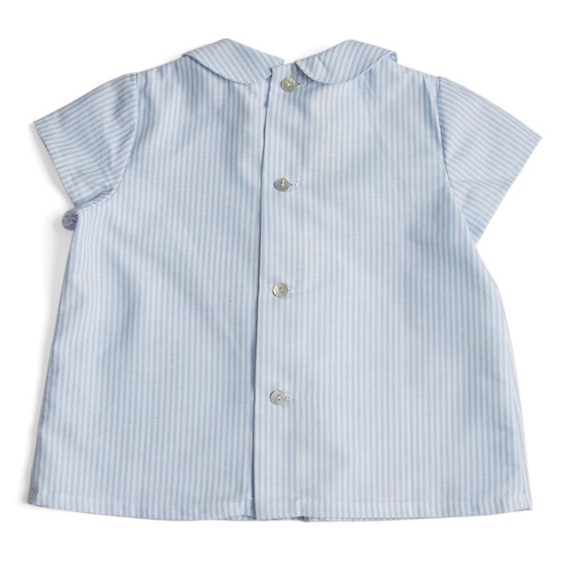 Striped Baby Shirt with Peter Pan Collar and Double Buttons in Light Blue - Shirt - PEPA AND CO