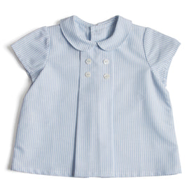 Striped Baby Shirt with Peter Pan Collar and Double Buttons in Light Blue