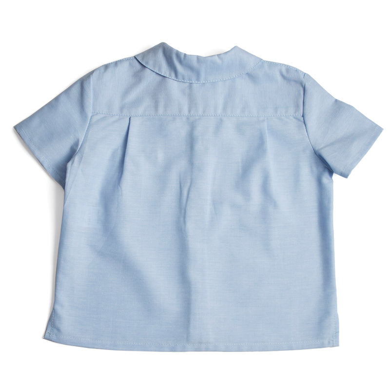 Classic Oxford Baby Shirt with Peter Pan Collar in Blue - Shirt - PEPA AND CO