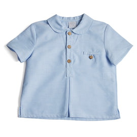 Classic Oxford Baby Shirt with Peter Pan Collar in Blue