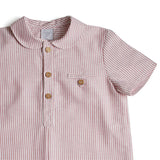 Classic Oxford Baby Shirt with Peter Pan Collar in Red and White Stripes - Shirt - PEPA AND CO