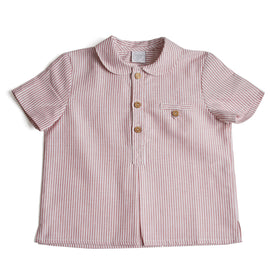 Classic Oxford Baby Shirt with Peter Pan Collar in Red and White Stripes