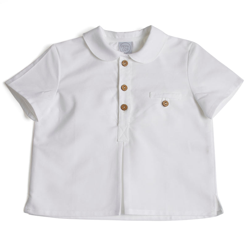 Classic Oxford Baby Shirt with Peter Pan Collar in White - Shirt - PEPA AND CO