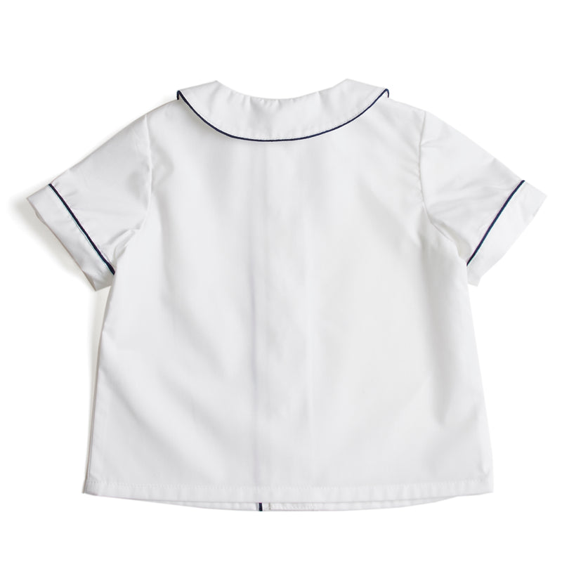 Traditional Boys Shirt with Blue Piping in White - Shirt - PEPA AND CO