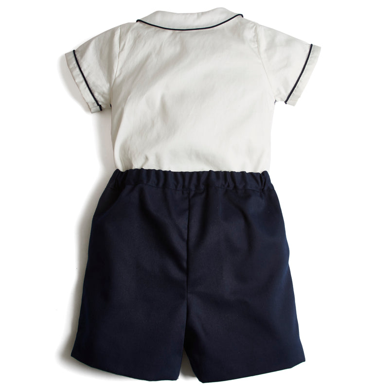 Traditional Baby Boy Shorts and Smocked Shirt Set Navy - Set - PEPA AND CO