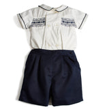 Traditional Baby Boy Shorts and Smocked Shirt Set Navy