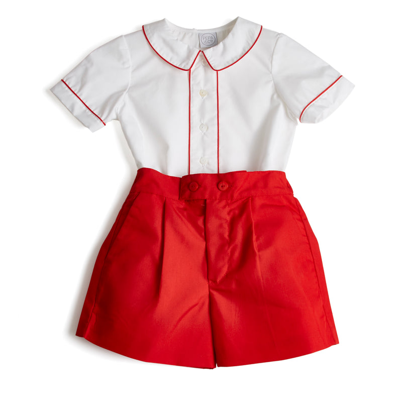 Traditional Boy Shorts and Shirt Set with Piping in Red