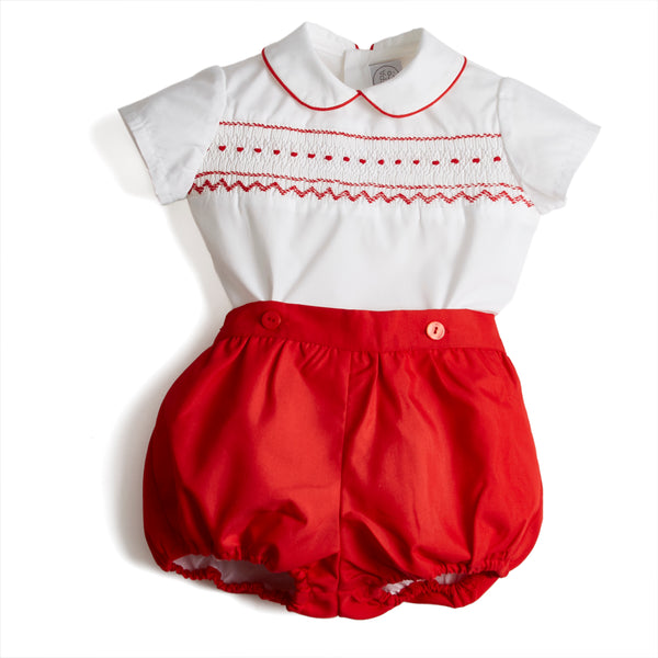 Classic Baby Boy Bloomers and Smock Shirt Set with Red Piping - Set - PEPA AND CO