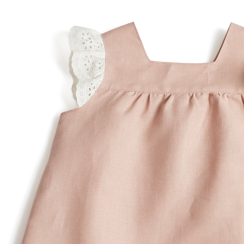 Linen Girls sleeveless Blouse with Lace Details Pink - Blouse - PEPA AND CO