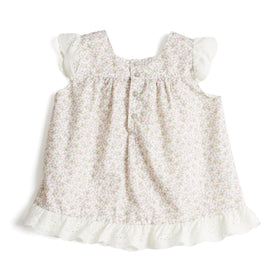 Girls Sleeveless Blouse with Lace Details Floral Pink