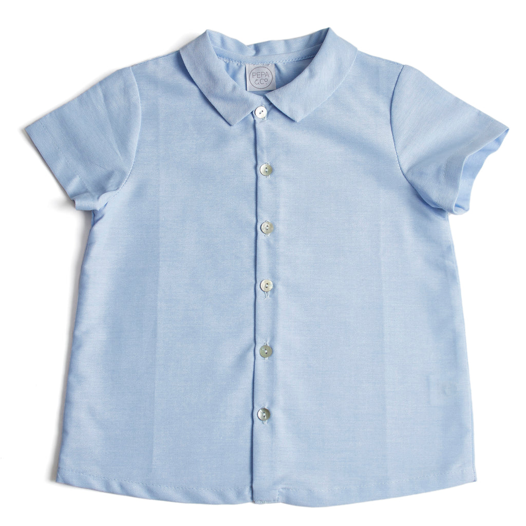 Traditional Collared Boys Shirt Light Blue