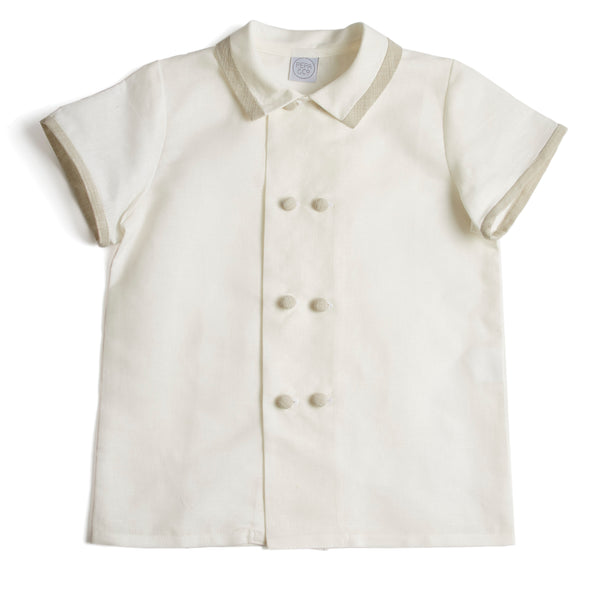 Linen Boys Celebration Shirt White with Beige Piping - Shirt - PEPA AND CO