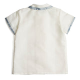 Linen Boys Celebration Shirt White with Blue Silk piping - Shirt - PEPA AND CO