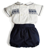 Smocked Baby Shirt and Bloomers Set Navy - Set - PEPA AND CO