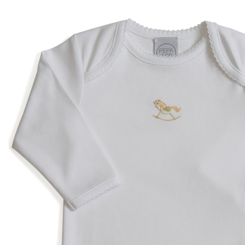 Newborn American Collar Bodysuit With Rocking Horse Embroidery Beige - Bodysuit - PEPA AND CO