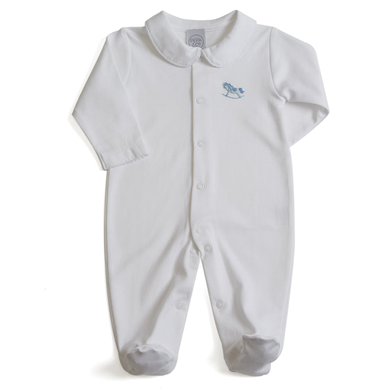 Newborn All-In-One with Rocking Horse Embroidery Blue - Bodysuit - PEPA AND CO