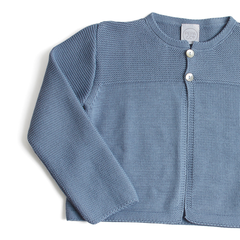 Classic Knitted Cardigan Blue - Cardigan - PEPA AND CO