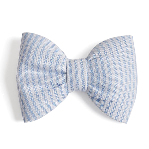 Big Bow Clip in Light Blue Oxford Stripes - Hair Accessories - PEPA AND CO