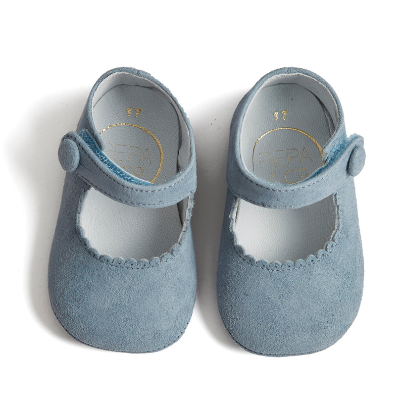 Suede Mary Jane Pram Shoes Baby Blue