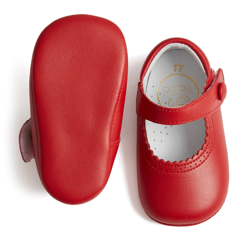 Leather Mary-Jane Baby Pram Shoes Red