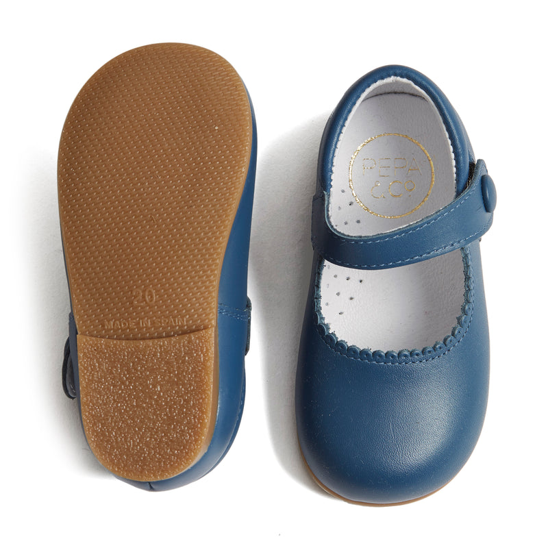 Leather Mary-Jane Baby Shoes French Blue - Shoes - PEPA AND CO