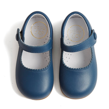 Mary Jane Blue Leather Baby Shoes - Shoes - PEPA AND CO
